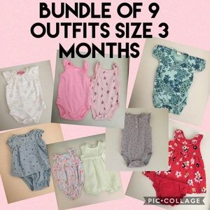 Bundle of 9 size 3 mo month baby girl outfits